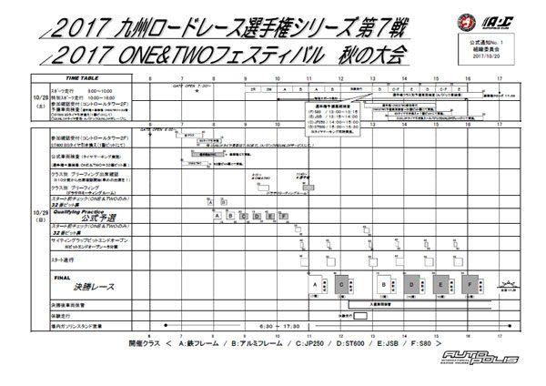 ONE&TWOフェスティバル2017 秋の大会 タイムスケジュール他を公開しました